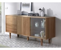 Buffet VINGA - 3 portes - MDF & Verre trempé - Coloris : Chêne