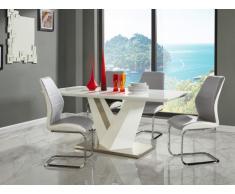 Table à manger GILDAS - MDF laqué & métal - 6 couverts - Blanc & gris