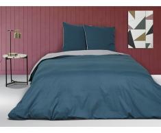 Parure de lit en percale IONESCO - housse de couette 240 x 260 cm - 2 taies d'oreiller 65 x 65 cm - Bleu et gris