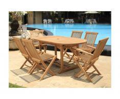 Salle à manger de jardin BYBLOS - Teck: 1 table extensible L120/170cm + 2 fauteuils + 4 chaises