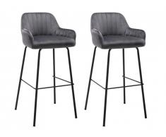 Lot de 2 tabourets de bar ELEANA - Velours & Métal Noir - Gris