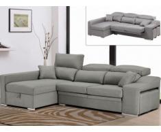 Canapé d'angle en tissu LUSALI avec assise coulissante - Gris clair - Angle gauche