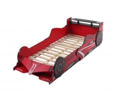 Lit voiture FORMULE 1 - 90 x 190 cm - MDF rouge - LEDs
