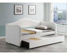 Lit gigogne LIPOVA - 2x90x190cm - Simili - Blanc