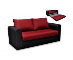 Canapé 2 places convertible en tissu DANUBE - Noir et Rouge avec passepoil rouge