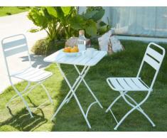 Salle à manger de jardin pliante MIRMANDE en métal: une table et 2 chaises - Blanc