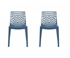 Lot de 2 chaises empilables DIADEME - Polypropylène - Bleu prusse