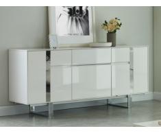 Buffet PETILLANTE - 3 portes & 1 tiroir - MDF & métal chromé - Blanc laqué