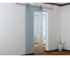 Porte coulissante en applique ABELIA - H205 x L83 cm - Verre trempé