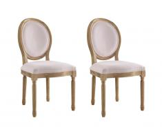 Lot de 2 chaises LOUIS XVI - Velours - Coloris rose pâle