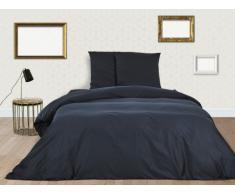 Parure de lit BEAUREGARD en satin - housse de couette 240x260cm + 2 taies d'oreiller 65x65 cm - Bleu marine