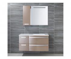 Ensemble de salle de bain NEREIDE - meubles + vasque + miroir - Taupe