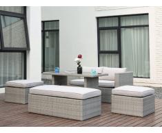 Salon de jardin SELAYAR en résine tressée anthracite: un canapé 2 places, un banc, 2 poufs et une table à manger