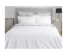 Parure de lit en percale de coton avec broderie CHARMY - housse de couette 240 x 260 cm + 2 taies d'oreiller 63 x 63 cm - gris et blanc