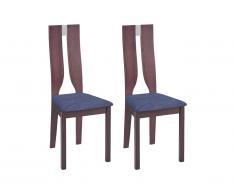Lot de 2 chaises SILVIA - Hêtre massif - Noyer et Gris