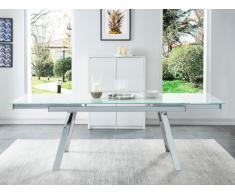 Table à manger extensible SERVANE - Verre trempé effet marbre & chrome - 6 à 8 couverts