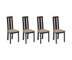 Lot de 4 chaises DOMINGO - Hêtre massif wengé