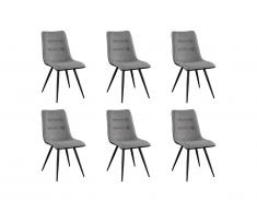 Lot de 6 chaises CLEVA - Tissu, Simili et Métal Noir - Gris