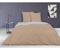 Parure de lit en percale IONESCO - housse de couette 240 x 260 cm - 2 taies d'oreiller 65 x 65 cm - Beige rosé et blanc - passepoil orange
