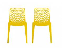 Lot de 2 chaises empilables DIADEME - Polypropylène - Jaune brillant