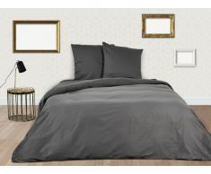 Parure de lit BEAUREGARD en satin - housse de couette 240x260cm + 2 taies d'oreiller 65x65 cm - Gris