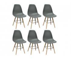 Lot de 6 chaises ALTA - Polypropylène et Bois - Gris