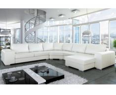 SOLDES - Canapé d'angle panoramique en simili KELLER - Blanc - Angle droit