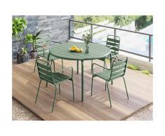 Salle à manger de jardin MIRMANDE en métal - une table D.110cm et 4 fauteuils empilables - Vert amande