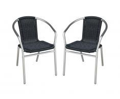 Lot de 2 chaises de jardin en aluminium et résine tressée noire FIZZ