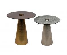Lot de 2 tables d'appoint LAYLA - Métal et Verre - Gris et cuivre