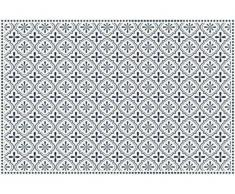 Tapis en vinyle effet carreaux de ciment TERQUISE - 120x180 cm - Bleu et blanc