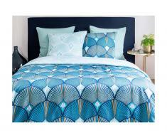 Parure de lit en satin SHELLY - housse de couette 240 x 260 cm + 2 taies d'oreiller 63 x 63 cm - bleu