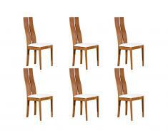 Lot de 6 chaises SALENA - Hêtre massif coloris chêne