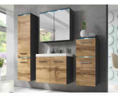 Ensemble CLEMENCE à leds - meubles de salle de bain - Finition bois