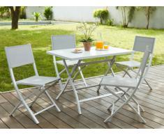 Salle à manger de jardin PIRAE en aluminium: une table pliante + 4 chaises pliantes - Assise grise