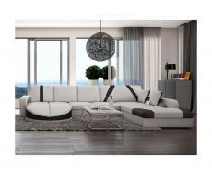 Canapé d'angle droit en simili MINTIKA - Blanc et bandes noires