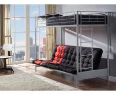 Pack MODULO IV - Lit mezzanine argent 90x190cm et son futon noir et rouge 135x190cm