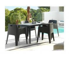Salle à manger de jardin SOROCA: Table + 4 chaises - Polypropylène - Anthracite