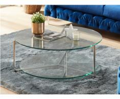 Table basse ABIGAEL - Double plateau - Verre trempé & acier