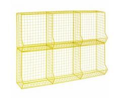 Casier 6 compartiments en fil de métal jaune TONIC
