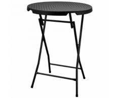 Mange-debout table de bar cocktail 80cm polyéthylène effet résine tressée Noir