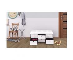 Banc coffre avec tiroirs 100 cm : Blanc