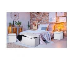 Set de banc coffre 76 cm avec 2 poufs pliables PVC - Blanc
