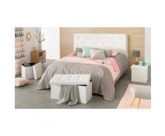 1 Tête de lit Couture + 1 Banc de rangement 76cm + 2 Poufs de rangement Blanc