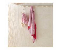 Fouta en tissé teint doublé éponge + sac de rangement couleur FUSHIA MONOPRIX MAISON