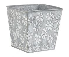 Cache pot en zinc motif fleurs,