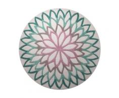 Tapis rond turquoise Lotus Flower ESPRIT HOME, Diamètre 250 cm