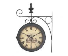 Horloge Gare métal noir,