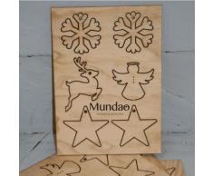 Suspensions de Noël en bois recyclé 4 motifs différents,