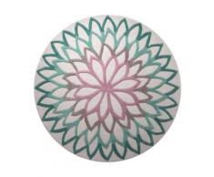 Tapis rond turquoise Lotus Flower ESPRIT HOME, diamètre 100 cm
